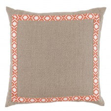 lacefield natural linen with coral on white camden tape pillow