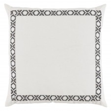 lacefield oyster linen with gunmetal on white camden tape pillow