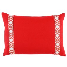lacefield mandarin linen with coral on white camden tape lumbar pillow