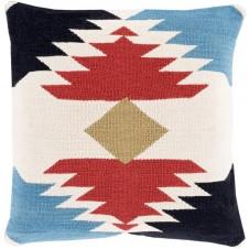 surya cotton kilim navajo pillow in dark red