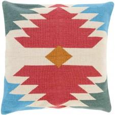 surya cotton kilim navajo pillow in garnet