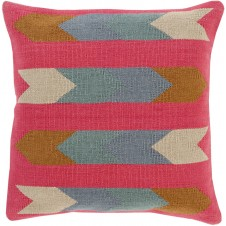 surya cotton kilim arrows pillow in pink