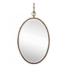 oval wall mirror w/ bracket, bronze