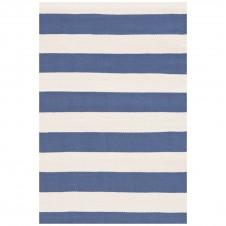 dash & albert catamaran stripe denim ivory indoor/outdoor rug