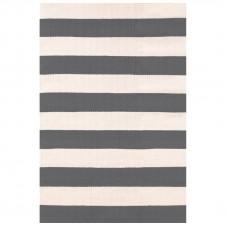 dash & albert catamaran stripe graphite ivory indoor/outdoor rug