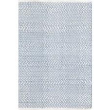 dash & albert herringbone swedish blue woven cotton rug