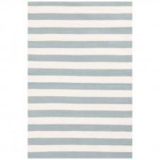dash & albert trimaran stripe light blue ivory indoor/outdoor rug