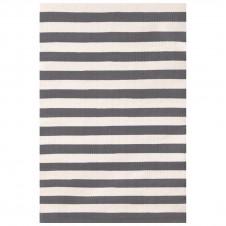 dash & albert trimaran stripe graphite ivory indoor/outdoor rug