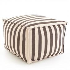 dash & albert trimaran stripe charcoal navy indoor/outdoor pouf