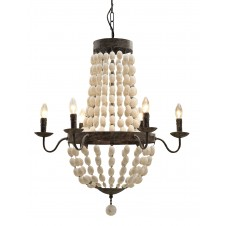 chateau iron chandelier with wood beads