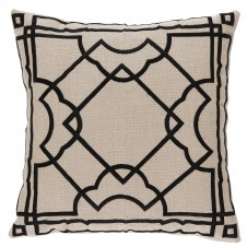 lacefield gatsby black embroidery on natural pillow