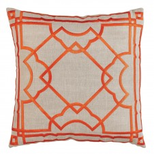 lacefield gatsby orange embroidery on natural pillow