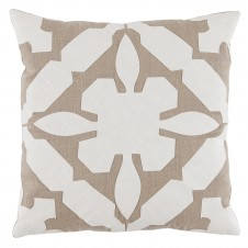 lacefield gloria applique natural and oyster linen pillow