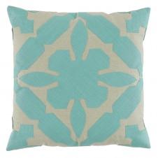 lacefield gloria applique seafoam and peacock linen pillow