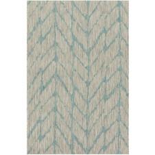 isle collection mist & aqua feather polypropylene rug
