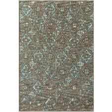 izmir collection taupe & aqua polypropylene rug