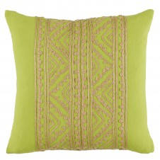 lacefield jaipur silk hemp embroidery spring green pillow