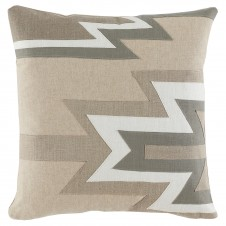 lacefield kilim linen applique pillow with danish linen, natural, oyster and stone
