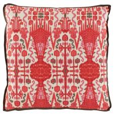 lacefield bombay geranium pillow with trellis geranium gusset and mud linen flange