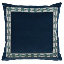 lacefield denim velvet pillow with amalfi glass tape