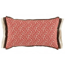 lacefield trellis geranium lumbar pillow with mud and eggshell linen double flange