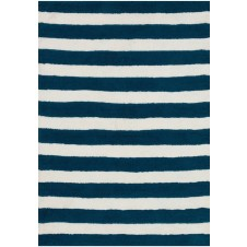 lola shag collection navy & white striped rug