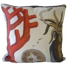 orange coral and squid pillow