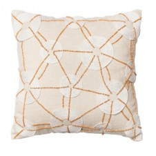 beaded cotton ivory pillow