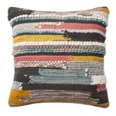 multi texture multi colored striped pillow