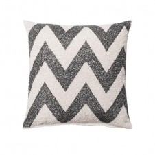 jacquard charcoal & white chevron pillow