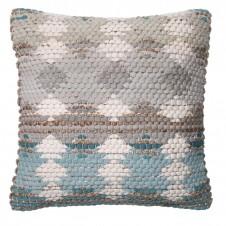 dhurri style blue & grey pillow