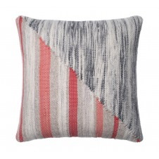 dhurri style grey & coral pillow