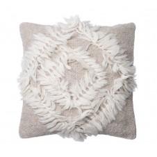 multi texture beige & cream fringe pillow