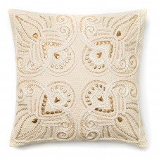 beige embroidery & beads pillow