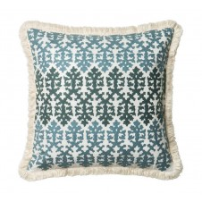 embroidery blue & white coral pillow w/ fringe
