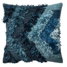indigo chevron fringe pillow