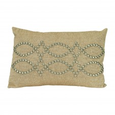 natural linen rectangle studded pillow