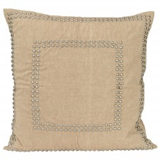 natural linen large studded pillow
