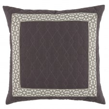 lacefield quilted charcoal linen with natural florence tape pillow