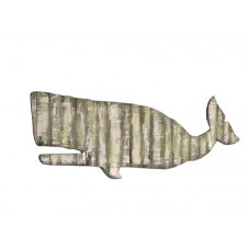 reclaimed wooden whale wall hanging