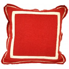 lacefield red oak linen pillow with natural twill tape