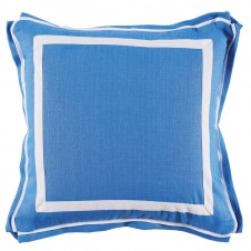 lacefield royal blue linen with white twill tape pillow