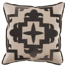 lacefield sultana applique charcoal velvet on heavy basket pillow
