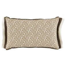 lacefield trellis sand lumbar pillow with mud and oyster linen double flange