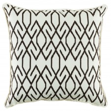 lacefield zoe cocoa pillow with white eyelash trim