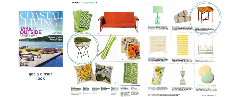 Spotted in Coastal Living, April, 2015